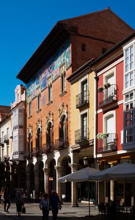 arroyo: PALENCIA, SPAIN - JUNE 27, 2015: College Villandrando:  building on Calle mayor Street by  Arroyo and  Zuloaga. Palencia Editorial