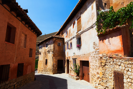 olden: residence stony houses in ordinary street of spanish town.  Albarracin, Aragon