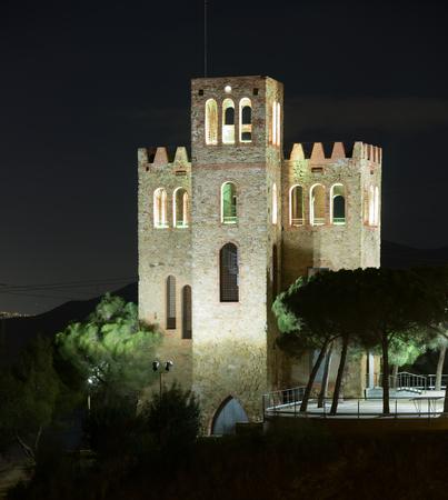 baro: View of Castle Torre Baro in night. Barcelona, Catalonia
