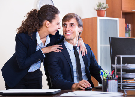 co action: Secret office romance between boss and assistant: touching by stealth