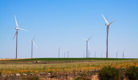 wind turbines: Wind Turbines at farmland in summer.  Spain Stock Photo