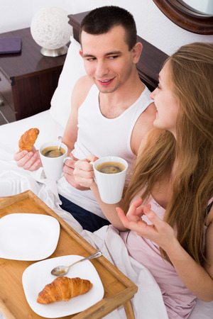 18's: Couple having healthy breakfast in the morning Stock Photo