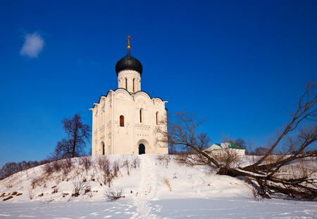 intercession: Church of the Intercession on the River Nerl (build in 1158) in winter. Russia