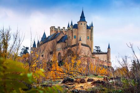 castile: Alcazar of Segovia in autumn.  Castile and Leon, Spain Editorial