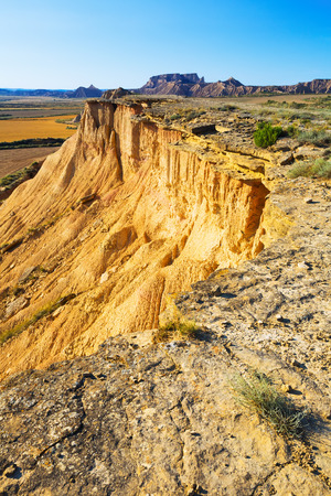 navarra: cliff at desert landscape of Navarra in summer day. Spain Stock Photo