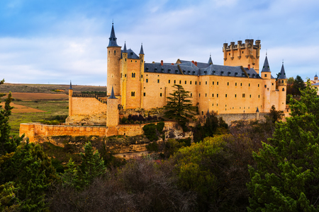 segovia: Castle of Segovia in november day.  Castile and Leon, Spain Editorial