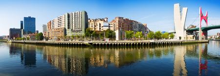 salve: Panoramic view of Bilbao. Embankment of    river and La Salve Bridge.   Spain Stock Photo