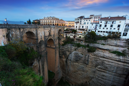 ronda: Bridge called Puente Nuevo   in early morning. Ronda