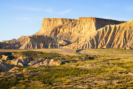 navarra: cliff at semi-desert landscape of Navarra  in sunny morning. Spain