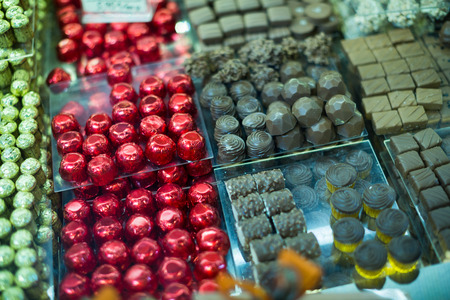 with fillings: Collection of delicious chocolate candies with different fillings Stock Photo