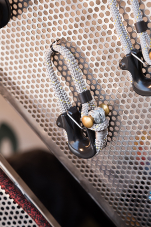manoeuvre: Store stand with assortment of cordage close up