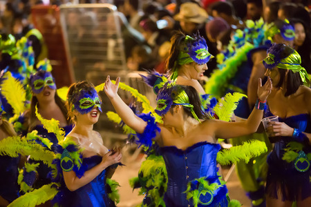 carnaval: SITGES,  SPAIN - FEBRUARY 7, 2016:   Carnaval at Sitges in evening time. Catalonia Editorial