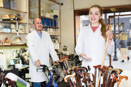 orthopaedic: Two consultants working in a special store with a orthopaedic goods