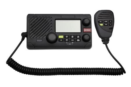 transceiver: VHF marine boat radio transceiver isolated on white background