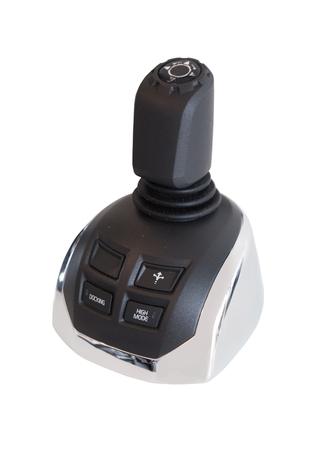 recreational: Nautical equipment: recreational boating joystick isolated on white