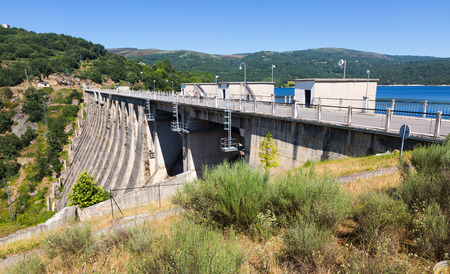 prada: view of dam at Encoro de Prada.  Galicia, Spain Stock Photo