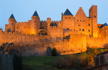 Medieval Castle at Carcassonne in twilight time.  France Redakční