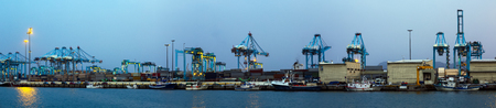 a panorama: Panorama of Industrial port of Algeciras in evening Stock Photo