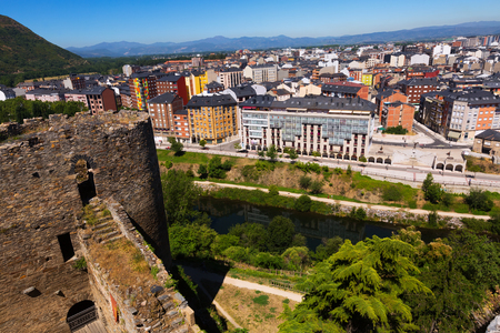 residence: View to river and residence districts  of Ponferrada from castle. Castile and Leon, Spain