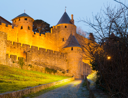 antiquary: Medieval castle of Carcassonne in evening time. Languedoc-Roussillon, France Editorial