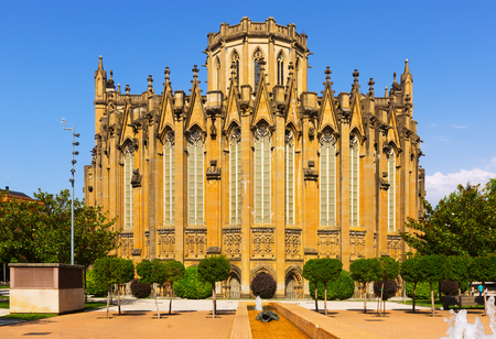 gasteiz: Day view of Cathedral of Mary Immaculate (New Cathedral), built and consecrated in the 20th century, in High Gothic style. Vitoria-Gasteiz, Spain Stock Photo