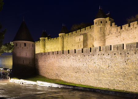 fortified: Medieval  fortified city in night time.  Carcassonne, France