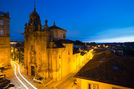evening church: Church of San Fructuoso in evening. Santiago de Compostela,  Galicia, Spain Stock Photo