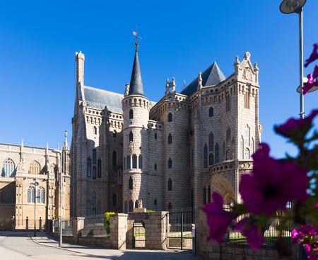 castile and leon: ASTORGA, SPAIN - JUNE 28, 2015:  Episcopal Palace of Astorga in summer.  Castile and Leon, Spain