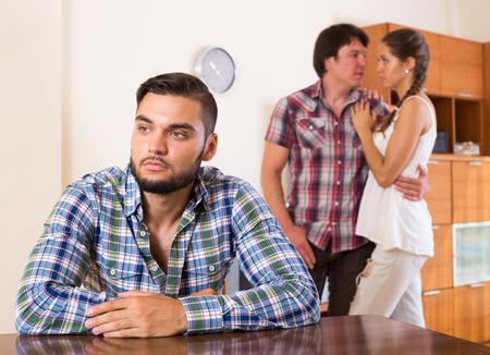 unhappy family: Unhappy family having quarrel at home Stock Photo