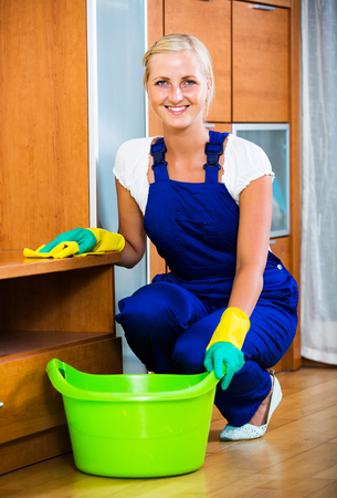 cleanup: Professional smiling female cleaner doing regular clean-up in home interior Stock Photo