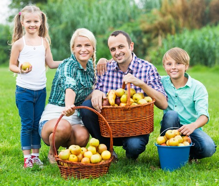 30 35: Happy parents and children with baskets of ripe apples outdoors