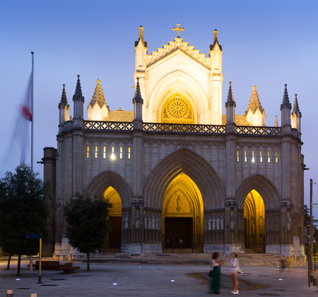 gasteiz: Dusk view of Cathedral of Mary Immaculate. Vitoria-Gasteiz, Spain