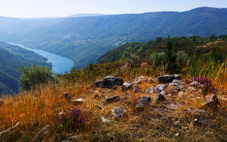 sil: Rocky landscape with river Sil in  Galicia,  Spain Stock Photo