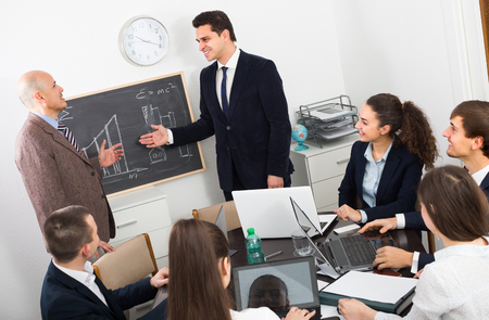 Business team at professional meeting in office Stock Photo