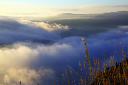 galicia: Misty dawn over  mountains  in summer morning.  Galicia, Spain Stock Photo