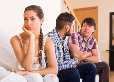 quarrel: Quarrel adult having argue with partners at home