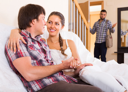 cheating: Upset adult discovering his cheating young girlfriend at home