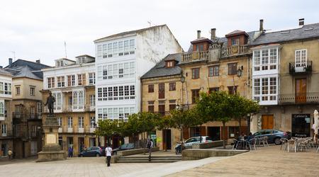 galician: VIVEIRO, SPAIN - JULY 1, 2015: Traditional galician architecture at city square of Viveiro Editorial
