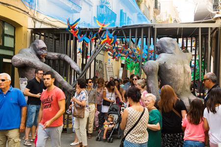 festa: BARCELONA, SPAIN - AUGUST 16, 2015:  Gracia Festa Major in Barcelona, Catalonia. Decorated streets of Gracia district. Zoo theme Editorial