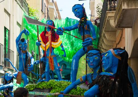 carrer: BARCELONA, SPAIN - AUGUST 16, 2015:  Gracia Festival  in Barcelona, Catalonia. Decorated streets of Gracia district. Avatar film theme