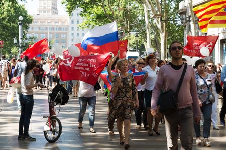 emigranti: Spagna, Barcellona - 9 maggio 2015: corteo cerimoniale dedicato al 70 ° anniversario della vittoria dall'evento seconda guerra mondiale a Barcellona, ??Spagna