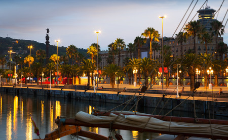 columb: Evening   embankment in Barcelona. Catalonia, Spain Stock Photo