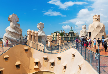 paseig: BARCELONA, SPAIN - JUNE 15, 2015: Roof of Casa Mila (La Pedrera) built in 1905–1910 by Catalan architect Antoni Gaudi. Editorial