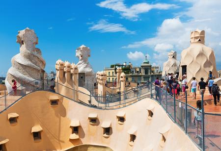 BARCELONA, SPAIN - JUNE 15, 2015: Roof of Casa Mila (La Pedrera) built in 1905–1910 by Catalan architect Antoni Gaudi. Editorial