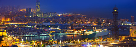 Panorama of Port Vell at Barcelona in night. Spain Stock Photo