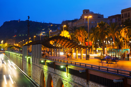 columb: Evening view of embankment with Columbus monument. Barcelona, Catalonia
