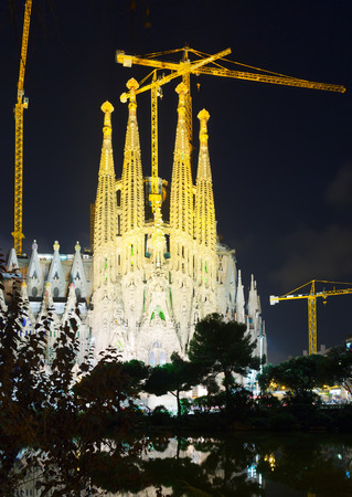 catalunia: Sagrada Familia in night. Barcelona
