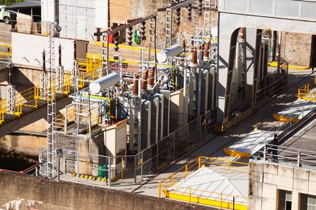 galicia: Closeup of Energy power station at Bibei river. Galicia, Spain Stock Photo