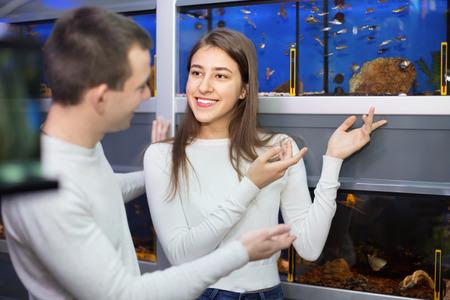 fish tank: Ordinary positive  customers selecting tropical fish in aquarium tank Stock Photo