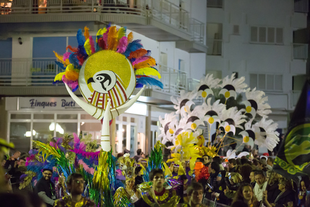 carnaval: SITGES,  SPAIN - FEBRUARY 10, 2016:  Procession of Carnaval at Sitges in evening time. Catalonia
